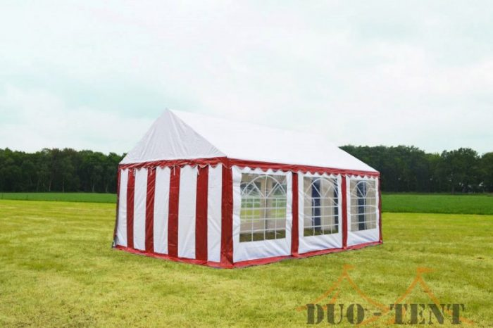 Partytent 3x6 Classic brandvertragend PVC - Rood / wit