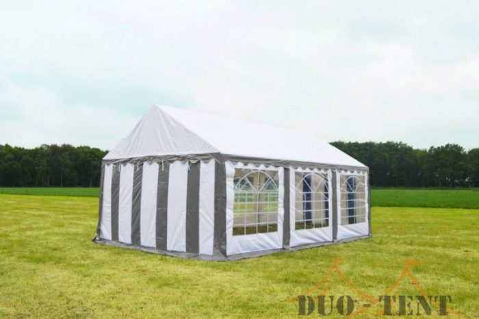 Partytent 4x6 Classic brandvertragend PVC - Grijs / wit