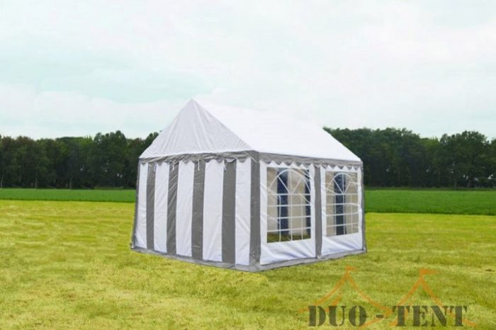 Partytent 3x3 Classic brandvertragend PVC - Grijs / wit