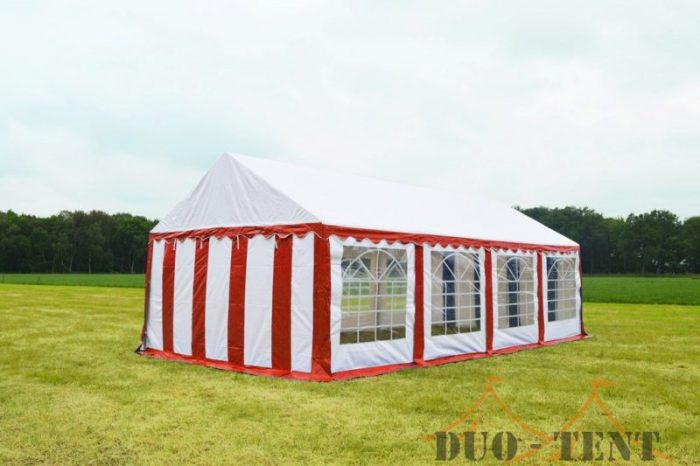 Partytent 4x8 Classic brandvertragend PVC - Rood  /wit