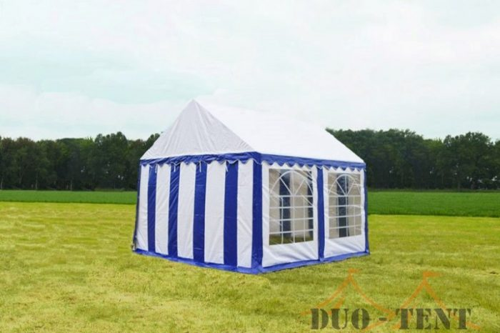 Partytent 4x4 Classic brandvertragend PVC - Blauw / wit