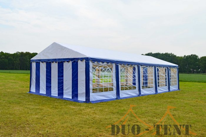 Partytent 5x10 Classic brandvertragend PVC - Blauw / wit