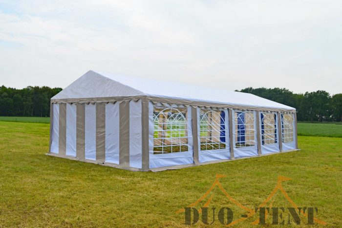 Partytent 5x10  Classic brandvertragend PVC - Beige  /wit