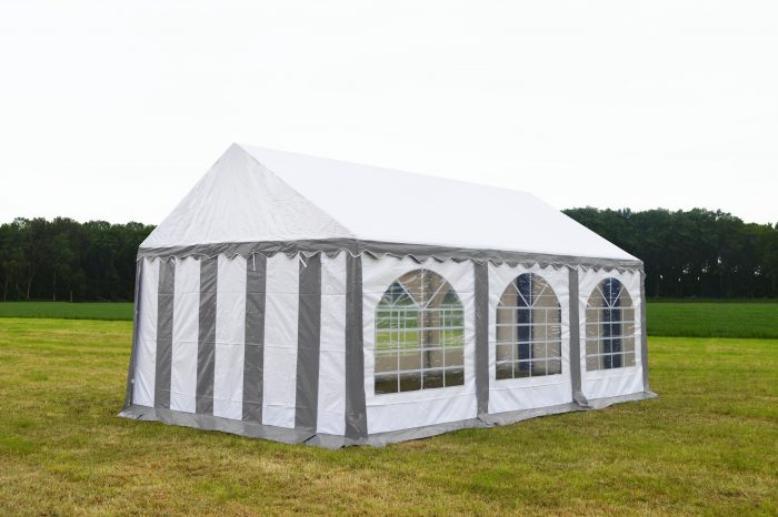 Partytent 3x6 Premium brandvertragend PVC - Grijs / wit