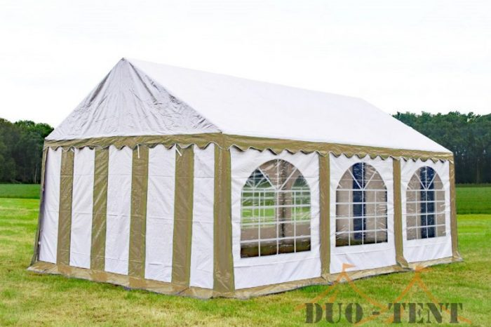 Partytent 4x6 Premium brandvertragend PVC - Beige  / wit