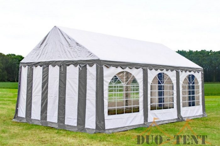 Partytent 5x6 Premium brandvertragend PVC - Grijs / wit