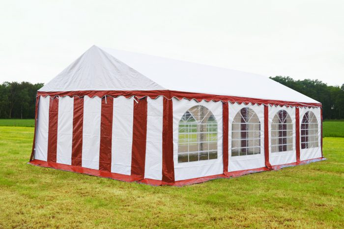 Partytent 5x8 Premium brandvertragend PVC - Rood / wit