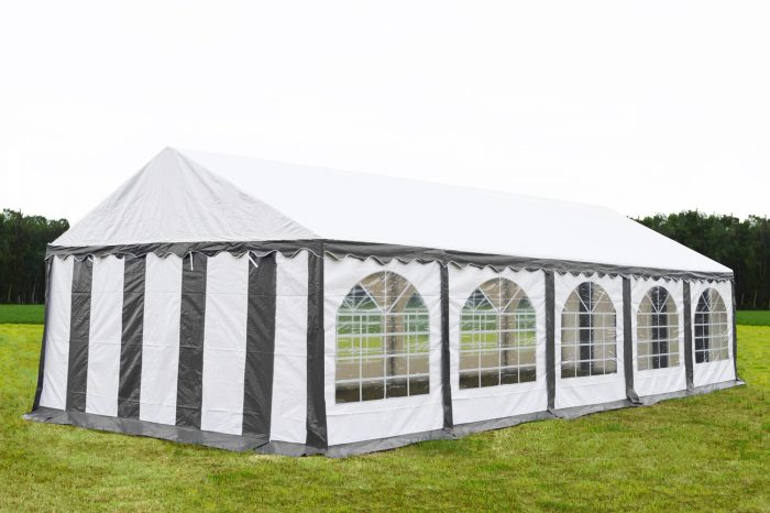 Partytent 5x10  Premium brandvertragend PVC - Grijs / wit