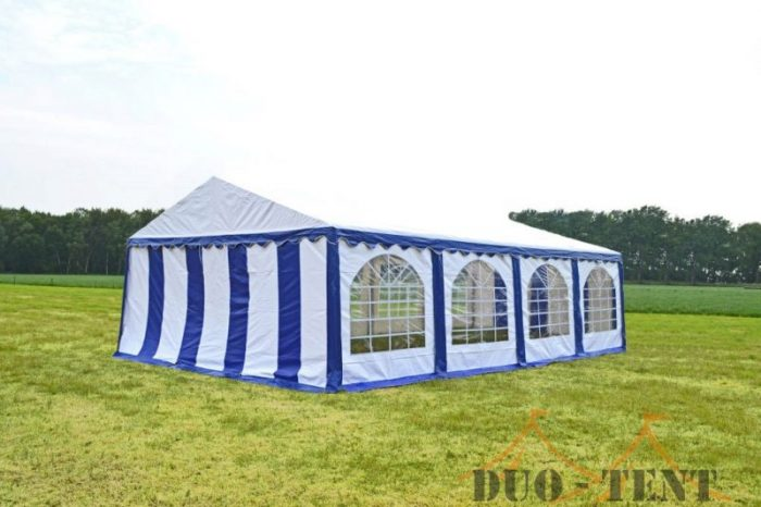 Partytent 6x8 Premium brandvertragend PVC - Blauw / wit