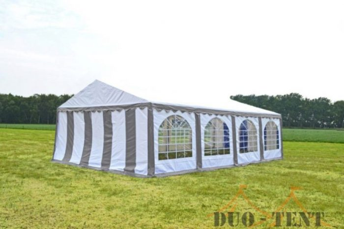 Partytent 6x8 Premium brandvertragend PVC - Grijs / wit