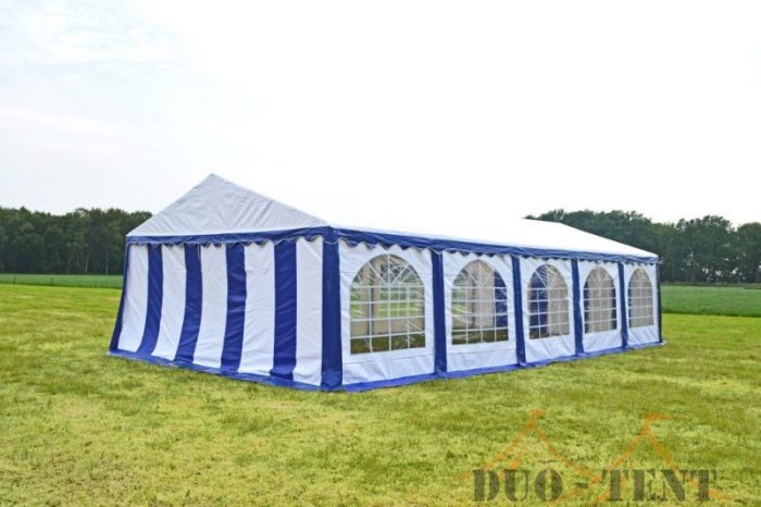 Partytent 6x10 Premium brandvertragend PVC - Blauw / wit