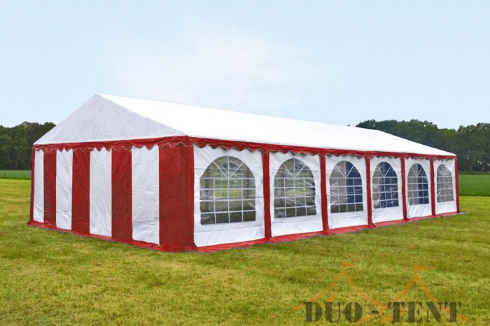 Partytent 6x12 Premium brandvertragend PVC - Rood / wit