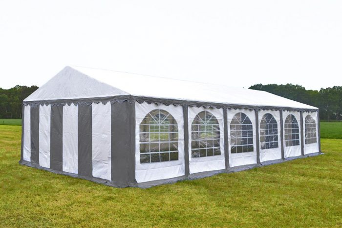 Partytent 6x12 professional brandvertragend PVC - Grijs / wit